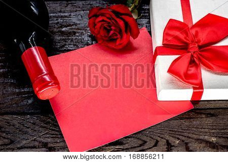 Valentines day and sweetest concept, rose with red wine