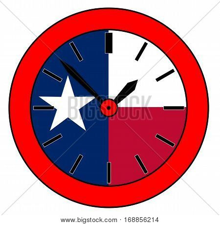 A typical clock face without numbers and the Texan flag background