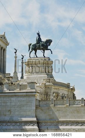 Monument to the rider on the horse in Italy. Sightseeing Italy. Constructions and architecture of Italy