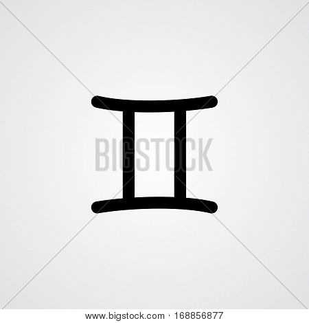 Gemini zodiac symbol black zodiac flat isolated icon on the gray background