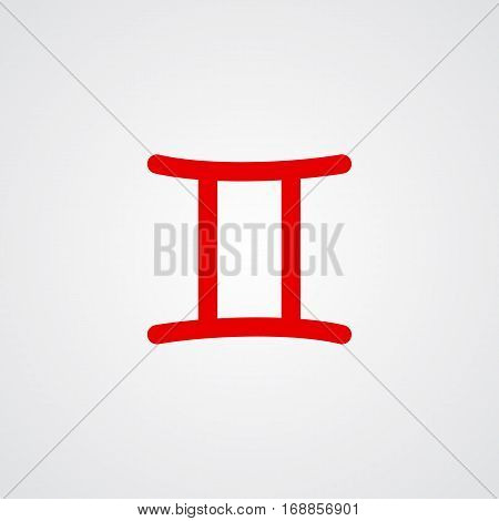 Gemini zodiac symbol red zodiac flat isolated icon on the gray background