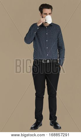 Man Drinking Coffee Chilling Portrait Concept