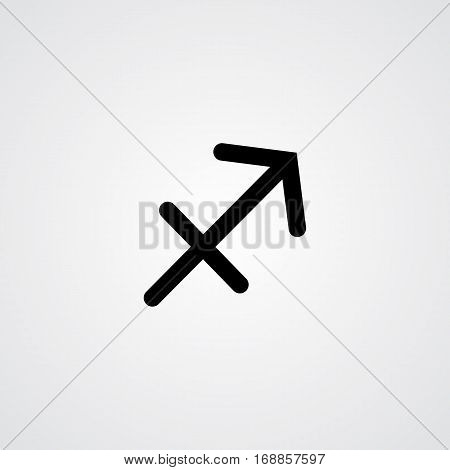 Sagittarius zodiac symbol black zodiac flat isolated icon on the gray background