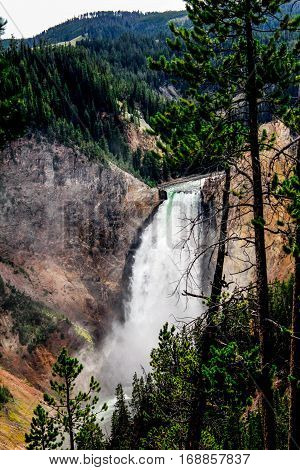 The power of a waterfall in Yellowstone National Park