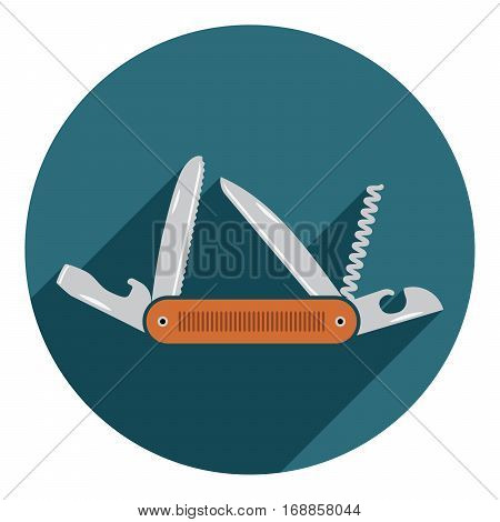 Multifunctional Pocket Knife Icon. Flat Design Of Hiking And Camping Equipment Tool, Vector Illustra