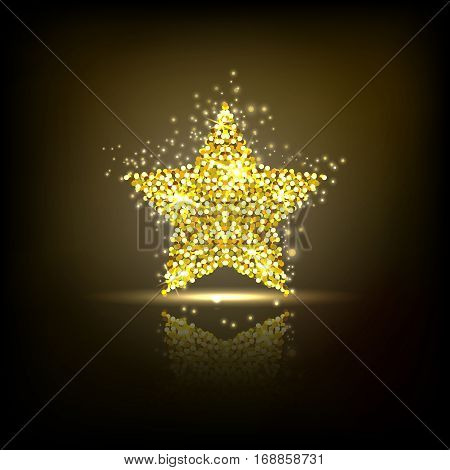Stylized golden star with reflection. Design element with spangles and scattered particles on the dark background. Vector illustration.