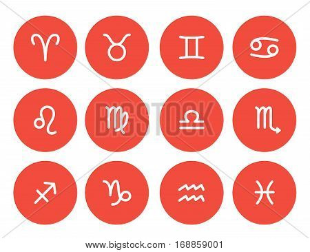 Set of zodiac symbols coral icons on the white background