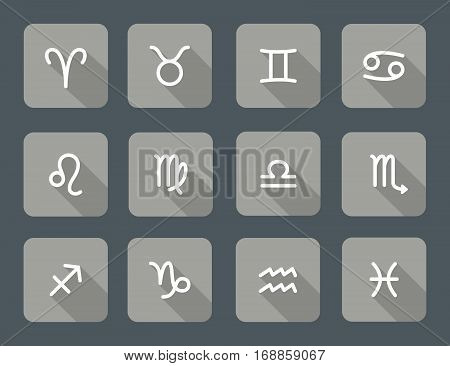 Set of zodiac symbols gray icons with shadow on the dark gray background