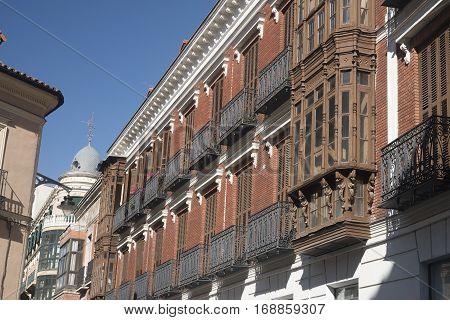Valladolid (Castilla y Leon Spain): historic buildings in Plaza Mayor the main square of the city with the typical verandas