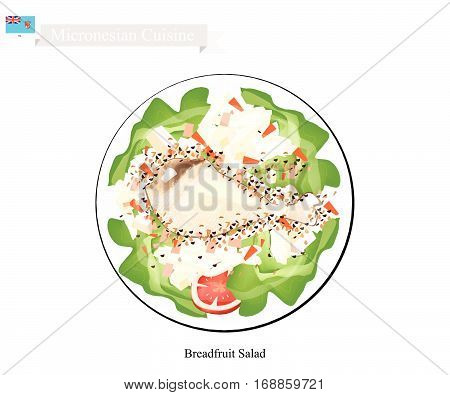 Micronesian Cuisine Illustration of Breadfruit Salad with Chicken Similar to Traditional Potato Salad Made of Breadfruit Chop Eggs and Onions Season with Mayonnaise Mustard White Pepper Salt and Garlic Powder. One of The Most Popular Dish in Micronesia.