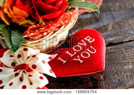 Valentine's day and sweetest concept, I Love You on a red heart.  Holiday background with copy space.