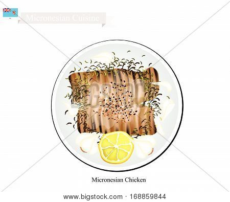 Micronesian Cuisine Illustration of Traditional Grilled Chicken Breast Steeped in Lemon Juice and Marinated In Beer Soy Sauce and Chopped Garlic. A Popular Dish of Micronesia.