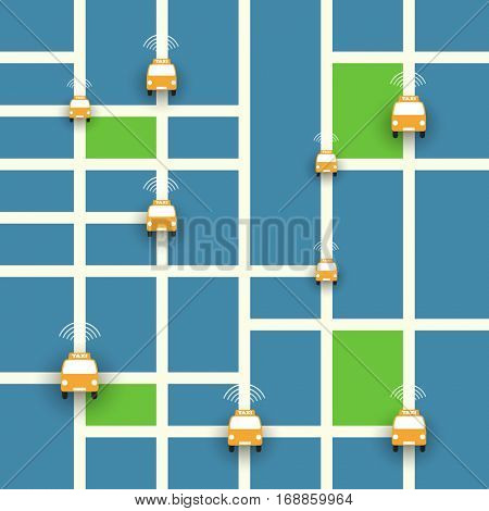 Self-Driving Taxi Concept, Mobile Application or Service Design - Vector Illustration