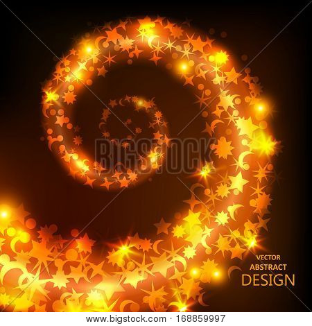 Whirlwind from confetti. Circulation of bright geometrical elements. A festive blizzard from tinsel with spots of light and sparks. Design of elements. Vector illustration.