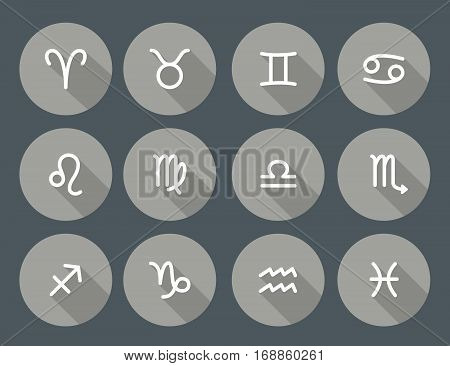 Set of zodiac symbols round gray icons with shadow on the dark gray background