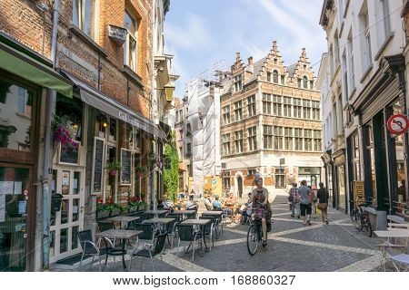 ANTWERP, BELGIUM - August 18, 2016. Beautiful street view of  Old town in Antwerp, Belgium, has long been an important city in the Low Countries, both economically and culturally.