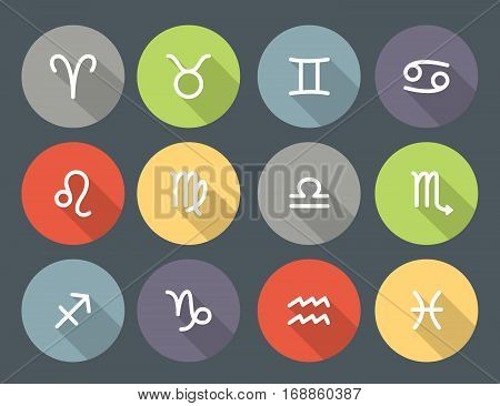 Set of zodiac symbols round colored icons with shadow on the gray background