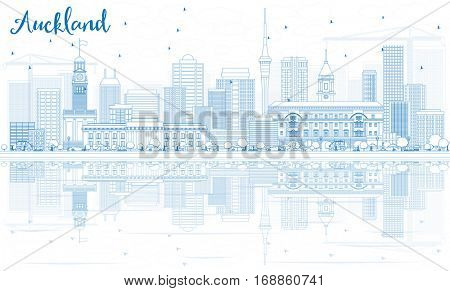 Outline Auckland Skyline with Blue Buildings and Reflections. Vector Illustration. Business Travel and Tourism Concept with Modern Buildings. Image for Presentation Banner Placard and Web Site.