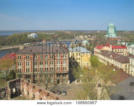 Russian Federation .Top-view of Vyborg in a sunny spring day