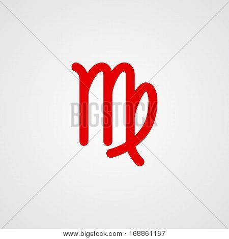 Virgo zodiac symbol red zodiac flat isolated icon on the gray background