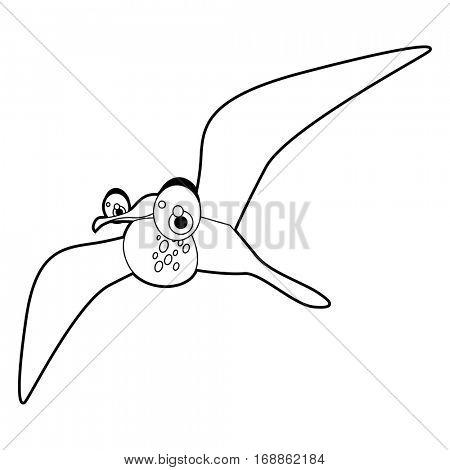 Cute funny cartoon style coloring bird illustration. Frigate