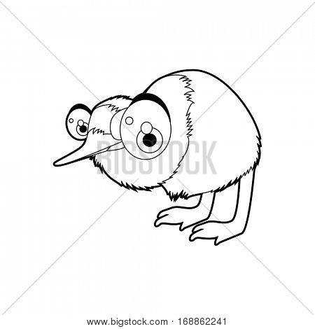 Cute funny cartoon style coloring bird illustration. Kiwi