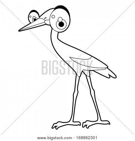 Cute funny cartoon style coloring bird illustration. Stork