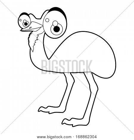 Cute funny cartoon style coloring bird illustration. Emu