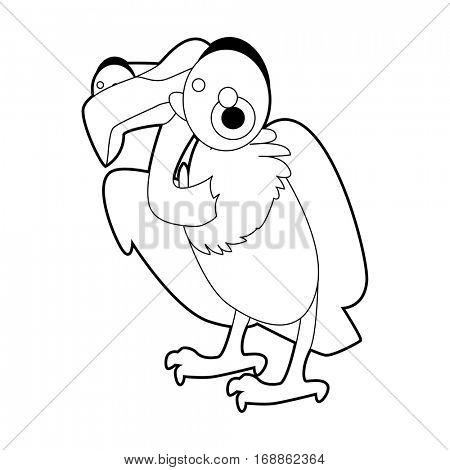 Cute funny cartoon style coloring bird illustration. Vulture
