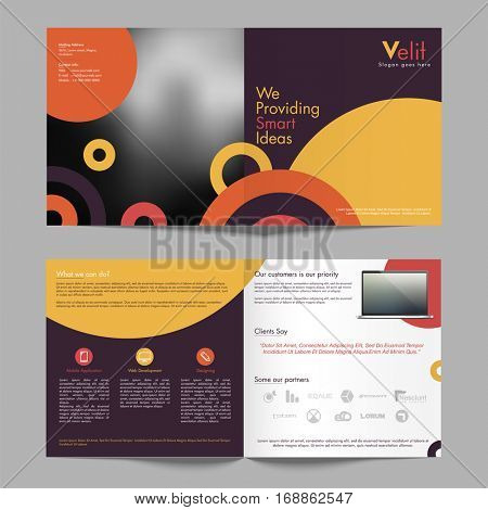 Front, Inner or Back Pages Presentation of Professional Business Brochure with laptop.