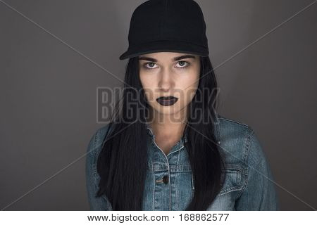 Beautiful Girl. Girl On A Gray Background