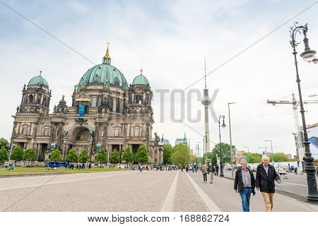 BERLIN, GERMANY- May 18, 2016: Tv tower or Fersehturm in Berlin on May 18, 2016, 2014. BERLIN, Germany.