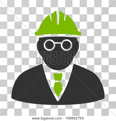 Clever Engineer icon. Vector illustration style is flat iconic bicolor symbol eco green and gray colors transparent background. Designed for web and software interfaces.