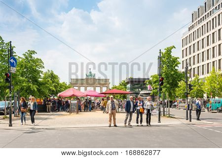 BERLIN, GERMANY- May 18, 2016: Brandenburg Gate (Brandenburger Tor) famous landmark, Germany,rebuilt in the late 18th century as a neoclassical triumphal arch. May 18, 2016, 2014 in Berlin