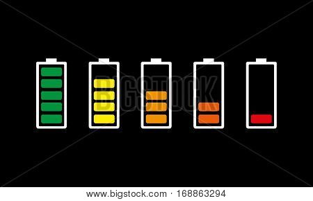 Set of colored battery charging icons. Vector illustration. The battery signs with a various level of charge on black background.