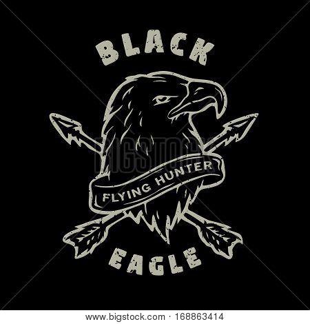 Black Eagle. Hand drawn emblem t-shirt design.