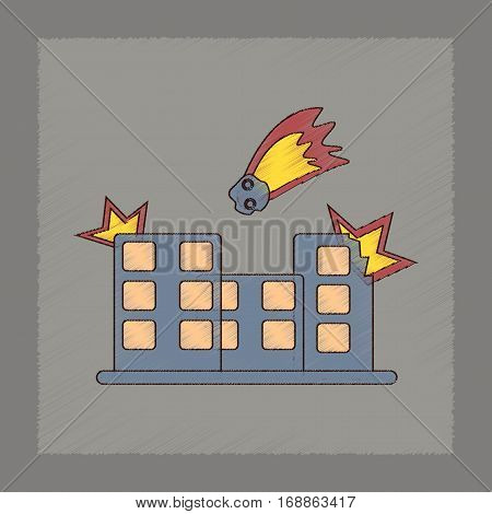 flat shading style icon of meteorite falling on house