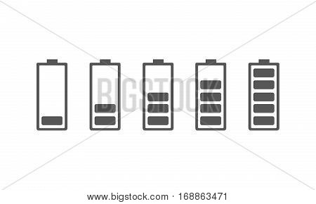 Set of battery charging icons. Vector illustration. The battery signs with a various level of charge on white background.