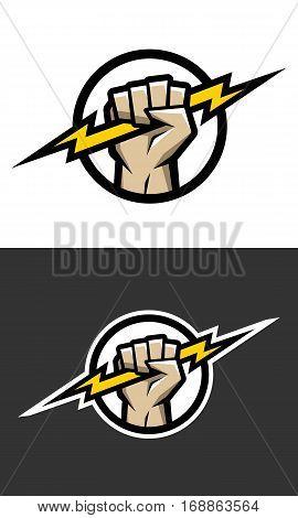 Hand holding a lighting Bolt. Symbol logo.