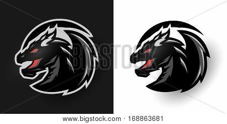 Round dragon logo Two options. Vector illustration.