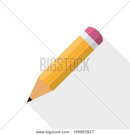 Pencil icon in flat design. Vector illustration. Pencil on white background with long shadow.