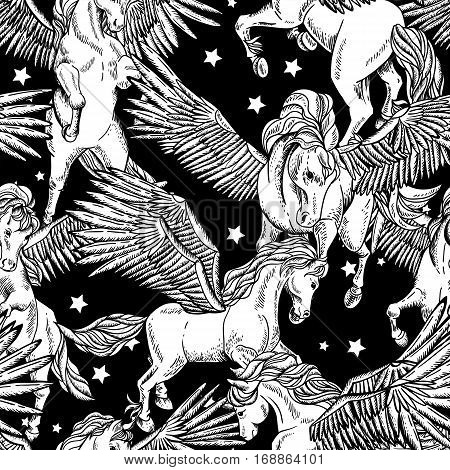 Vintage vector monochrome seamless pattern of white winged pegasus on black background, vintage vector design elements, greeting card