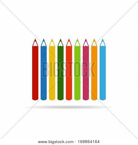 Set of colored pencil icons in flat design. Vector illustration. Pencils isolated on white background with shadow.