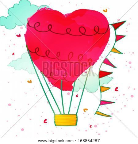 Creative Hot Air Balloon with Heart made by abstract brush stroke for Happy Valentine's Day Celebration.