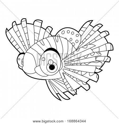 coloring cute sea life animals illustrations. Zebra Fish.