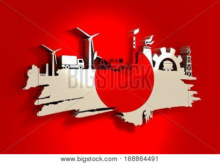 Energy and Power icons set and grunge brush stroke. Energy generation and heavy industry relative image. Agriculture and transportation. Flag of the Japan. 3D rendering