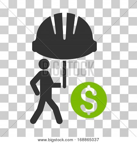 Industrial Financial Coverage icon. Vector illustration style is flat iconic bicolor symbol eco green and gray colors transparent background. Designed for web and software interfaces.