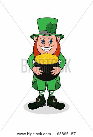 On the image presented cheerful leprechaun with clover vector illustration