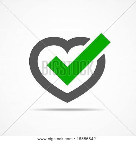 Heart with Yes check mark. Vector illustration. Gray heart with green check mark on light background.