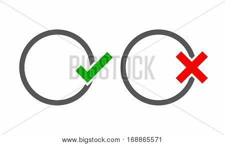 The round frames with Yes and No check marks. Vector illustration. Yes and No check marks. Vector illustration. Gray frames with red and green check marks on light background.